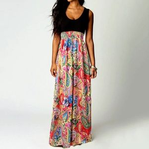 Multi-Color Paisley Bohemian Maxi Dress